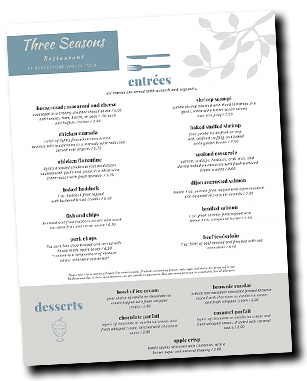 Three Seasons Menu